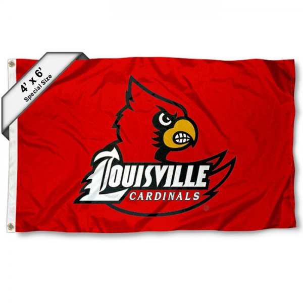 U of L Cardinals Large 4x6 Flag measures 4x6 feet, is made thick woven polyester, has quadruple stitched flyends, two metal grommets, and offers screen printed NCAA U of L Cardinals Large athletic logos and insignias. Our U of L Cardinals Large 4x6 Flag is officially licensed by U of L Cardinals and the NCAA.
