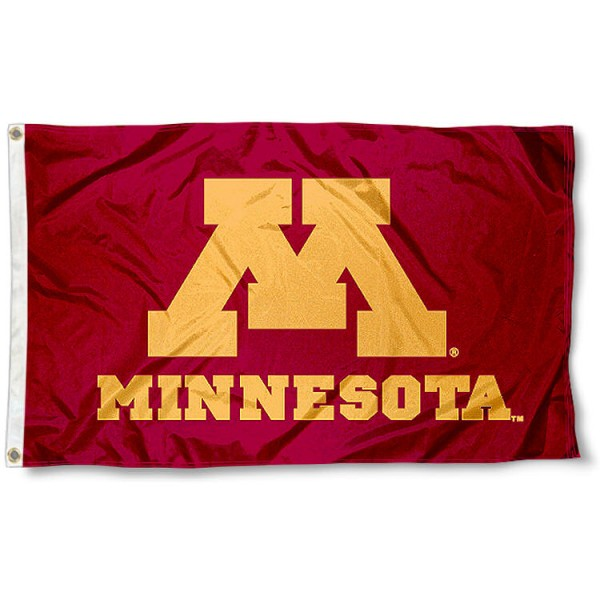 U of M Gophers Flag measures 3'x5', is made of 100% poly, has quadruple stitched sewing, two metal grommets, and has double sided U of M Gophers logos. Our U of M Gophers Flag is officially licensed by the selected university and the NCAA.