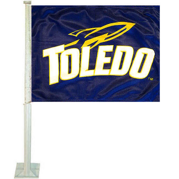 U of Toledo Car Flag measures 12x15 inches, is constructed of sturdy 2 ply polyester, and has dye sublimated school logos which are readable and viewable correctly on both sides. U of Toledo Car Flag is officially licensed by the NCAA and selected university
