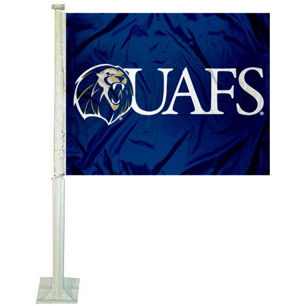 UA Fort Smith Lions Logo Car Flag measures 12x15 inches, is constructed of sturdy 2 ply polyester, and has screen printed school logos which are readable and viewable correctly on both sides. UA Fort Smith Lions Logo Car Flag is officially licensed by the NCAA and selected university.
