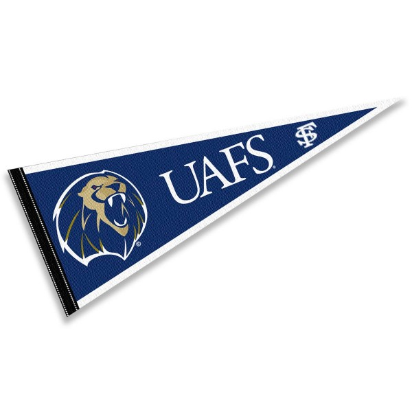UA Fort Smith Lions Pennant consists of our full size sports pennant which measures 12x30 inches, is constructed of felt, is single sided imprinted, and offers a pennant sleeve for insertion of a pennant stick, if desired. This UA Fort Smith Lions Pennant Decorations is Officially Licensed by the selected university and the NCAA.