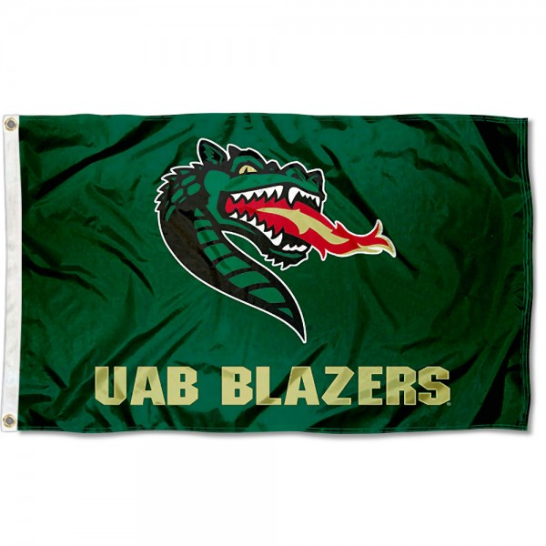 UAB Blazers Flag measures 3x5 feet, is made of 100% polyester, offers quadruple stitched flyends, has two metal grommets, and offers screen printed NCAA team logos and insignias. Our UAB Blazers Flag is officially licensed by the selected university and NCAA.
