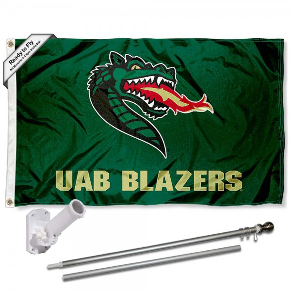 Our UAB Blazers Flag Pole and Bracket Kit includes the flag as shown and the recommended flagpole and flag bracket. The flag is made of polyester, has quad-stitched flyends, and the NCAA Licensed team logos are double sided screen printed. The flagpole and bracket are made of rust proof aluminum and includes all hardware so this kit is ready to install and fly.