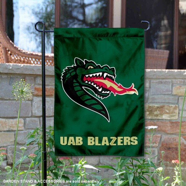 UAB Blazers Garden Flag is 13x18 inches in size, is made of 2-layer polyester, screen printed university athletic logos and lettering, and is readable and viewable correctly on both sides. Available same day shipping, our UAB Blazers Garden Flag is officially licensed and approved by the university and the NCAA.