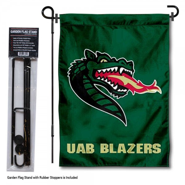 "UAB Blazers Garden Flag and Pole Stand Mount kit includes our 13""x18"" garden banner which is made of 2 ply poly with liner and has screen printed licensed logos. Also, a 40""x17"" inch garden flag stand is included so your UAB Blazers Garden Flag and Pole Stand Mount is ready to be displayed with no tools needed for setup. Fast Overnight Shipping is offered and the flag is Officially Licensed and Approved by the selected team."