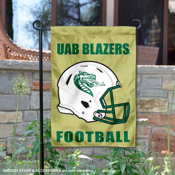 UAB Blazers Helmet Yard Garden Flag is 13x18 inches in size, is made of 2-layer polyester with Liner, screen printed university athletic logos and lettering, and is readable and viewable correctly on both sides. Available same day shipping, our UAB Blazers Helmet Yard Garden Flag is officially licensed and approved by the university and the NCAA.
