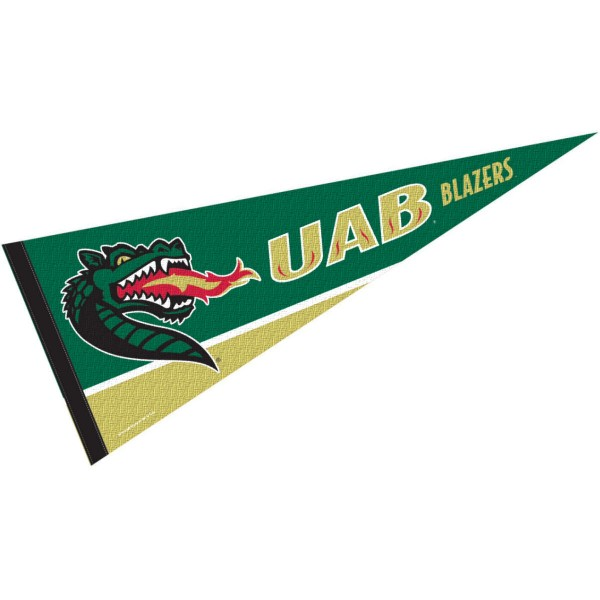 UAB Decorations consists of our full size pennant which measures 12x30 inches, is constructed of felt, is single sided imprinted, and offers a pennant sleeve for insertion of a pennant stick, if desired. This Alabama Birmingham Blazers Decorations is officially licensed by the selected university and the NCAA