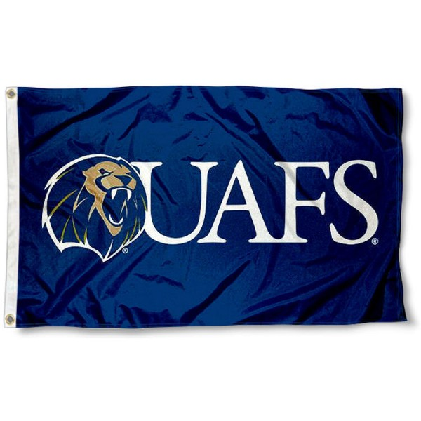 UAFS Lions Flag measures 3x5 feet, is made of 100% polyester, offers quadruple stitched flyends, has two metal grommets, and offers screen printed NCAA team logos and insignias. Our UAFS Lions Flag is officially licensed by the selected university and NCAA.