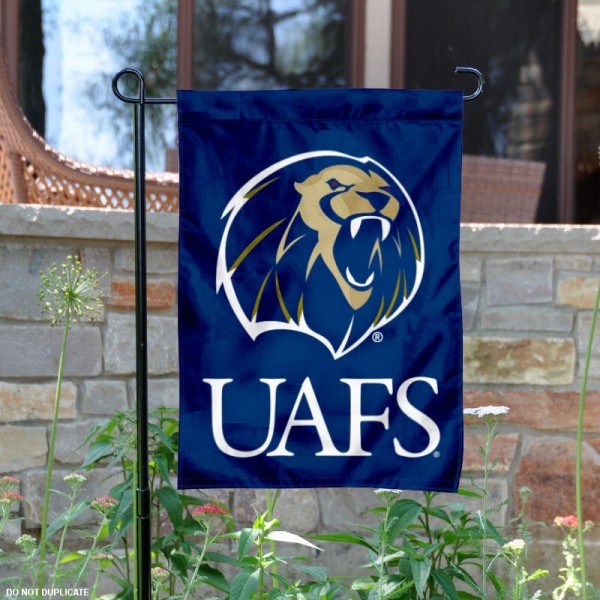 UAFS Lions Garden Flag is 13x18 inches in size, is made of 2-layer polyester, screen printed university athletic logos and lettering. Available with Same Day Express Shipping, our UAFS Lions Garden Flag is officially licensed and approved by the university and the NCAA.