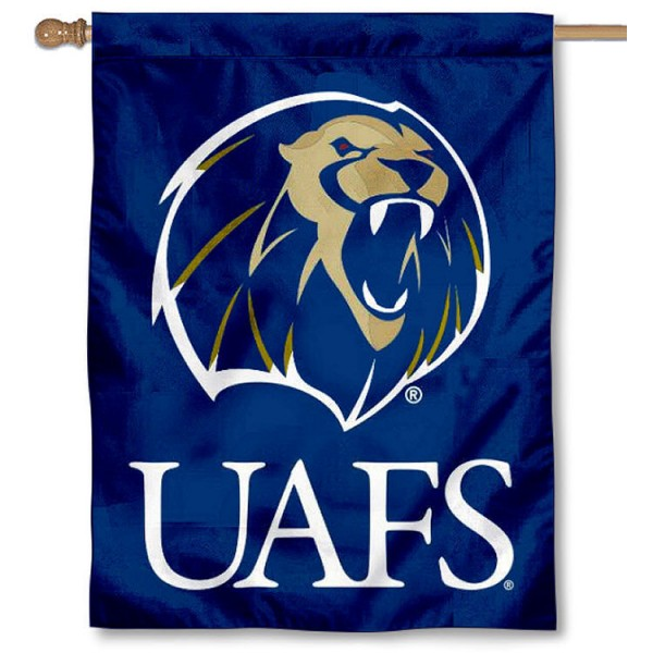 UAFS Lions House Flag is a vertical house flag which measures 30x40 inches, is made of 2 ply 100% polyester, offers screen printed NCAA team insignias, and has a top pole sleeve to hang vertically. Our UAFS Lions House Flag is officially licensed by the selected university and the NCAA.
