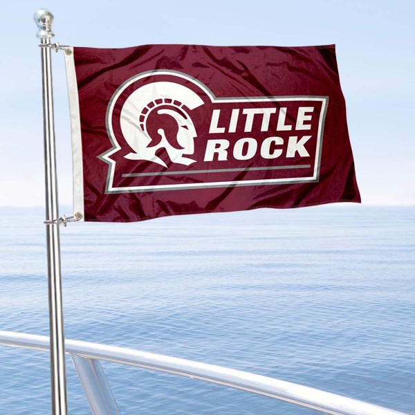 UALR Trojans Boat and Mini Flag is 12x18 inches, polyester, offers quadruple stitched flyends for durability, has two metal grommets, and is double sided. Our mini flags for University of Arkansas at Little Rock are licensed by the university and NCAA and can be used as a boat flag, motorcycle flag, golf cart flag, or ATV flag.