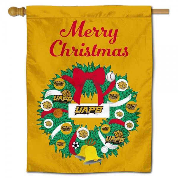 UAPB Golden Lions Happy Holidays Banner Flag measures 30x40 inches, is made of poly, has a top hanging sleeve, and offers dye sublimated UAPB Golden Lions logos. This Decorative UAPB Golden Lions Happy Holidays Banner Flag is officially licensed by the NCAA.