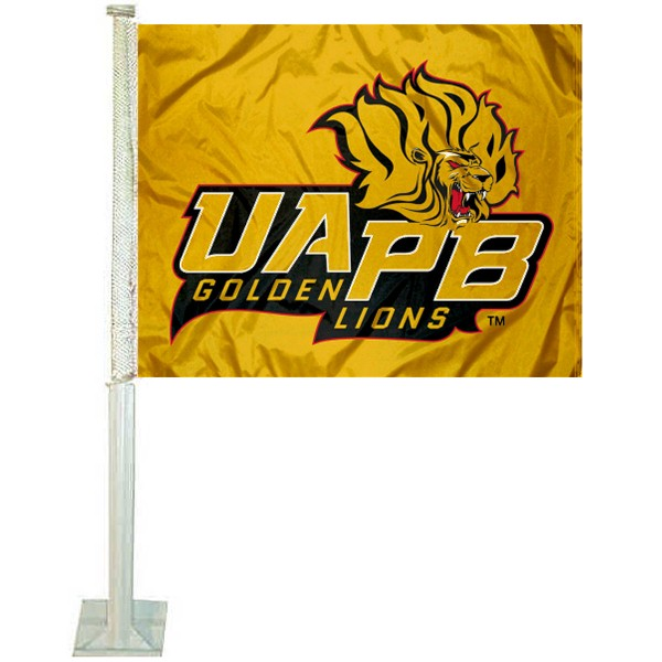 UAPB Golden Lions Logo Car Flag measures 12x15 inches, is constructed of sturdy 2 ply polyester, and has screen printed school logos which are readable and viewable correctly on both sides. UAPB Golden Lions Logo Car Flag is officially licensed by the NCAA and selected university.