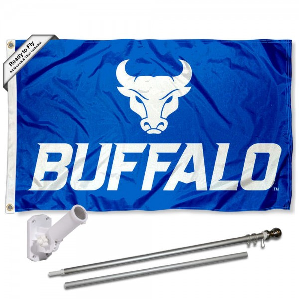 Our UB Bulls New Logo Flag Pole and Bracket Kit includes the flag as shown and the recommended flagpole and flag bracket. The flag is made of nylon, has quad-stitched flyends, and the NCAA Licensed team logos are double sided screen printed. The flagpole and bracket are made of rust proof aluminum and includes all hardware so this kit is ready to install and fly.