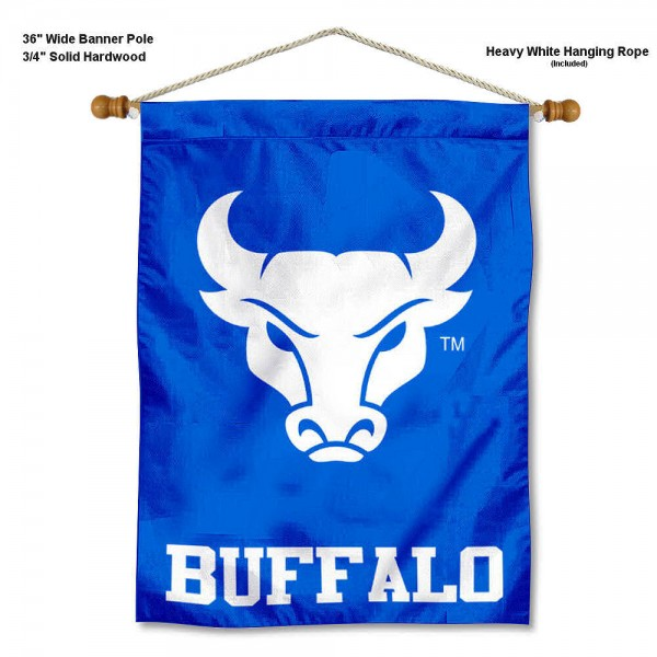 """UB Bulls Wall Banner is constructed of polyester material, measures a large 30""""x40"""", offers screen printed athletic logos, and includes a sturdy 3/4"""" diameter and 36"""" wide banner pole and hanging cord. Our UB Bulls Wall Banner is Officially Licensed by the selected college and NCAA."""