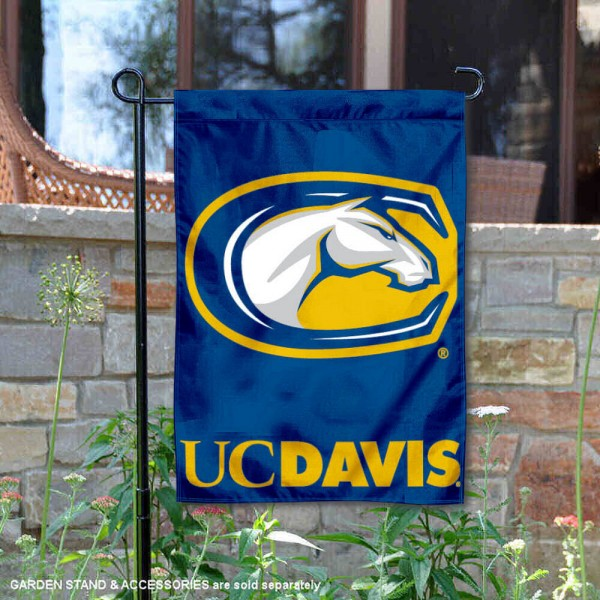 UC Davis Aggies Garden Flag is 13x18 inches in size, is made of 2-layer polyester, screen printed UC Davis Aggies athletic logos and lettering. Available with Same Day Express Shipping, Our UC Davis Aggies Garden Flag is officially licensed and approved by UC Davis Aggies and the NCAA.