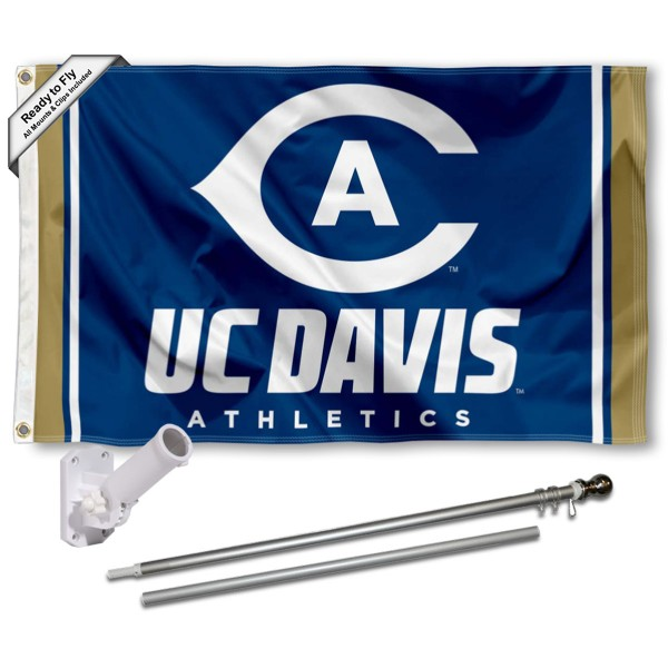 Our UC Davis Ags Flag Pole and Bracket Kit includes the flag as shown and the recommended flagpole and flag bracket. The flag is made of nylon, has quad-stitched flyends, and the NCAA Licensed team logos are double sided screen printed. The flagpole and bracket are made of rust proof aluminum and includes all hardware so this kit is ready to install and fly.
