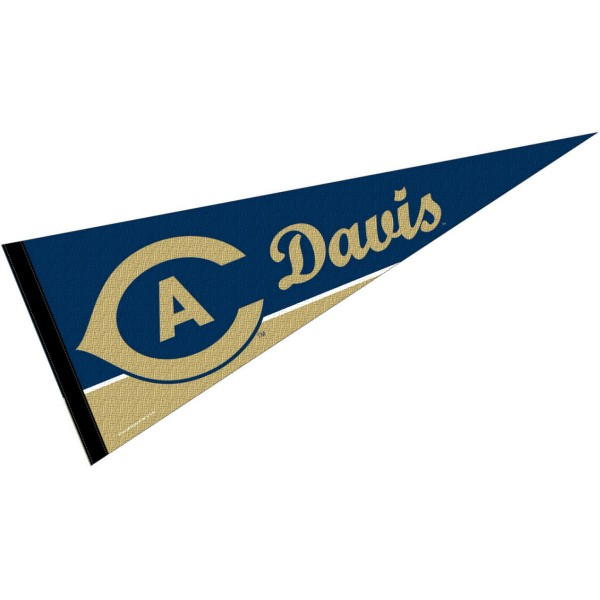 UC Davis Decorations consists of our full size pennant which measures 12x30 inches, is constructed of felt, single sided imprinted, and offers a pennant sleeve for insertion of a pennant stick, if desired. These UC Davis Decorations are Officially Licensed by the selected University and the NCAA.