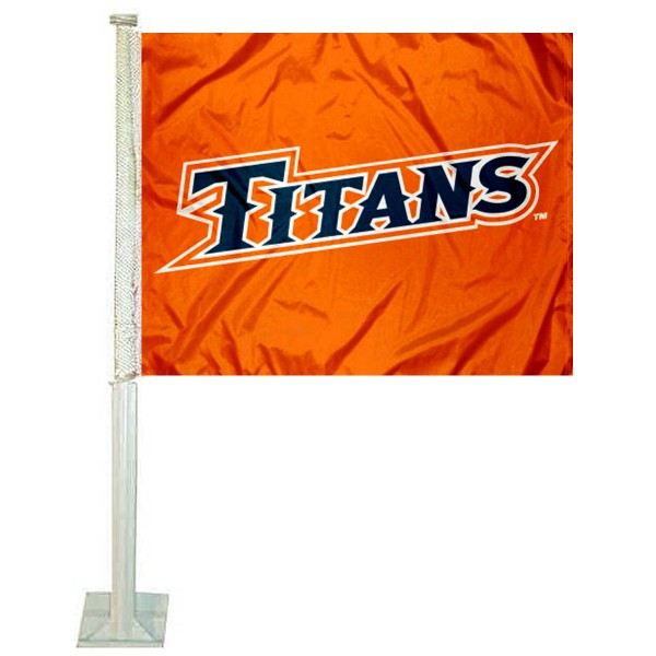 UC Fullerton Titans Logo Car Flag measures 12x15 inches, is constructed of sturdy 2 ply polyester, and has screen printed school logos which are readable and viewable correctly on both sides. UC Fullerton Titans Logo Car Flag is officially licensed by the NCAA and selected university.