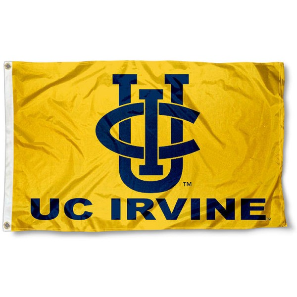 UC Irvine Gold Flag measures 3x5 feet, is made of 100% polyester, offers quadruple stitched flyends, has two metal grommets, and offers screen printed NCAA team logos and insignias. Our UC Irvine Gold Flag is officially licensed by the selected university and NCAA.