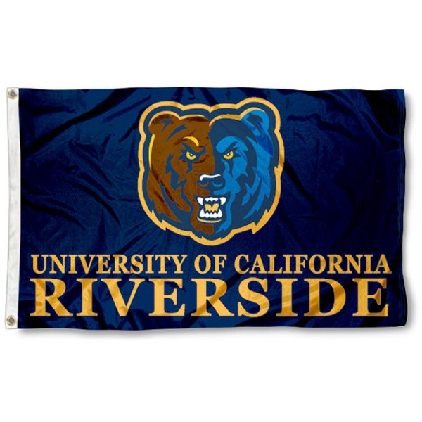 This UC Riverside Flag measures 3'x5', is made of 100% nylon, has quad-stitched sewn flyends, and has two-sided UC Riverside printed logos. Our UC Riverside Flag is officially licensed and all flags for UC Riverside are approved by the NCAA and Same Day UPS Express Shipping is available.