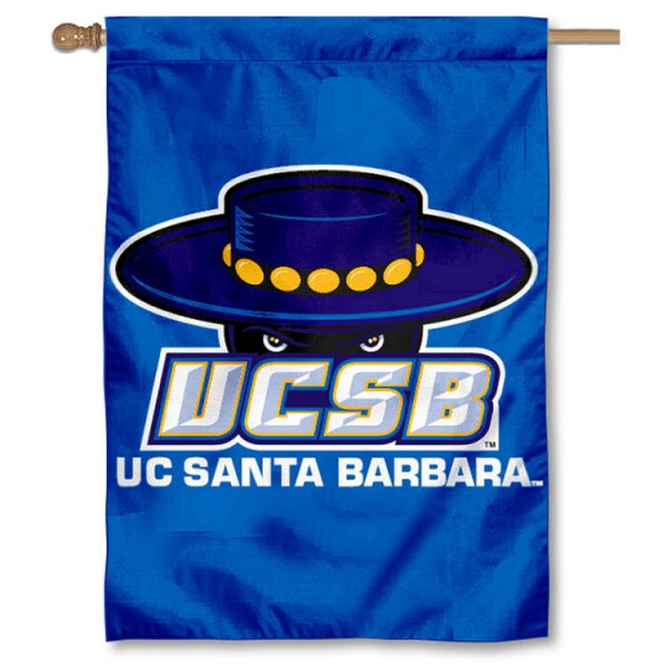 UC Santa Barbara Gauchos Double Sided Banner is a vertical house flag which measures 28x40 inches, is made of 2 ply 100% nylon, offers screen printed NCAA team insignias, and has a top pole sleeve to hang vertically. Our UC Santa Barbara Gauchos Double Sided Banner is officially licensed by the selected university and the NCAA.
