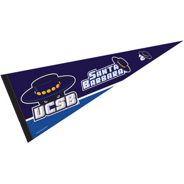 UC Santa Barbara Gauchos Pennant is 12x30 inches, is made of felt, has a pennant stick sleeve, and the UCSB logos are single sided screen printed. Our UC Santa Barbara Gauchos Pennant is licensed by the NCAA and the university.