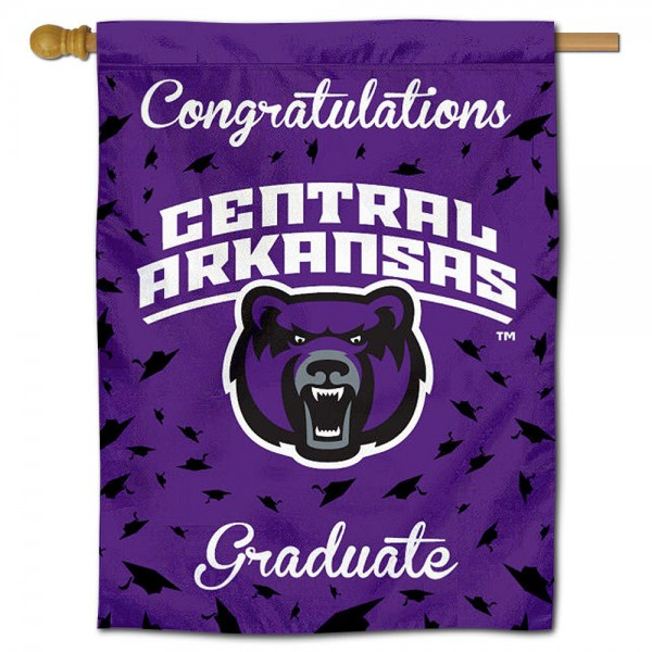 UCA Bears Congratulations Graduate Flag measures 30x40 inches, is made of poly, has a top hanging sleeve, and offers dye sublimated UCA Bears logos. This Decorative UCA Bears Congratulations Graduate House Flag is officially licensed by the NCAA.