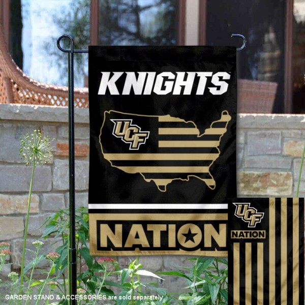 UCF Knights Garden Flag with USA Country Stars and Stripes is 13x18 inches in size, is made of 2-layer polyester, screen printed logos and lettering. Available with Same Day Express Shipping, Our Nation Yard Flag is officially licensed and approved by the NCAA.