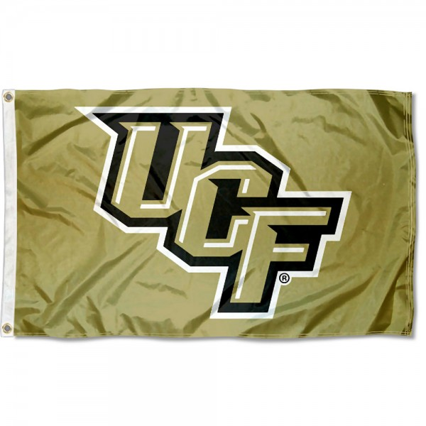 UCF Knights Metallic Gold Flag measures 3x5 feet, is made of 100% polyester, offers quadruple stitched flyends, has two metal grommets, and offers screen printed NCAA team logos and insignias. Our UCF Knights Metallic Gold Flag is officially licensed by the selected university and NCAA.