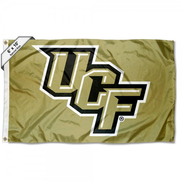 UCF Knights New Metallic Gold 6'x10' Flag measures 6x10 feet, is made of thick poly, has quadruple-stitched fly ends, and UCF Knights logos are screen printed into the UCF Knights New Metallic Gold 6'x10' Flag. This UCF Knights New Metallic Gold 6'x10' Flag is officially licensed by and the NCAA.