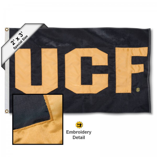 UCF Knights Small 2'x3' Flag measures 2x3 feet, is made of 100% nylon, offers quadruple stitched flyends, has two brass grommets, and offers embroidered UCF Knights logos, letters, and insignias. Our UCF Knights Small 2'x3' Flag is Officially Licensed by the selected university.