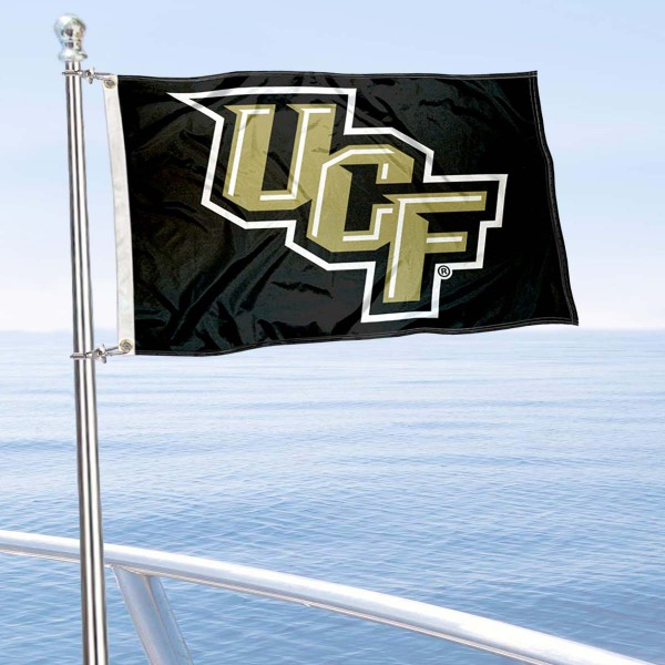 UCF Knights Stacked UCF Logo Boat and Mini Flag is 12x18 inches, polyester, offers quadruple stitched flyends for durability, has two metal grommets, and is double sided. Our mini flags for University of Central Florida are licensed by the university and NCAA and can be used as a boat flag, motorcycle flag, golf cart flag, or ATV flag.