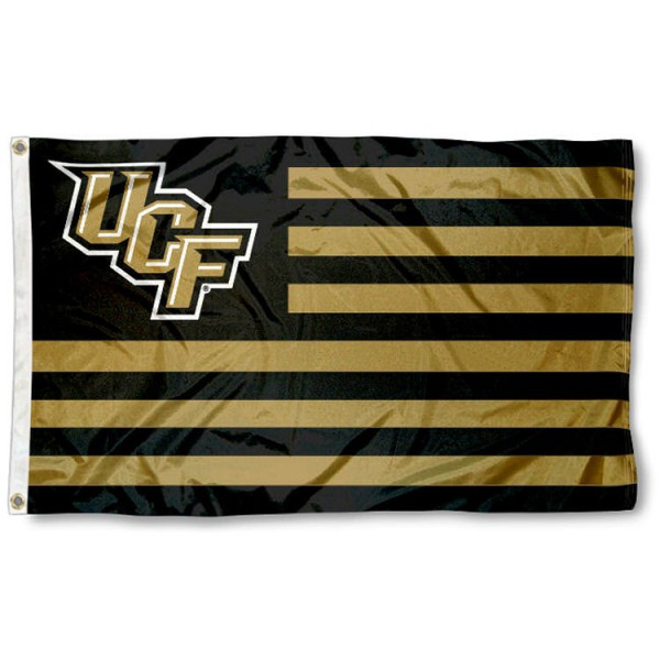 UCF Knights Stripes Nation Flag measures 3'x5', is made of nylon, offers four-stitched flyends for durability, has two metal grommets, and is viewable from both sides with a reverse image on the opposite side. Our UCF Knights Stripes Nation Flag is officially licensed by the selected school university and the NCAA.