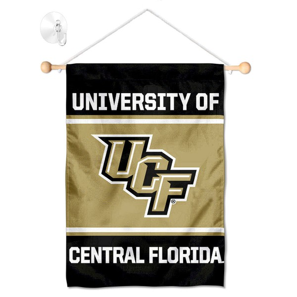"""UCF Knights Window and Wall Banner kit includes our 13""""x18"""" garden banner which is made of 2 ply poly with liner and has screen printed licensed logos. Also, a 17"""" wide banner pole with suction cup is included so your UCF Knights Window and Wall Banner is ready to be displayed with no tools needed for setup. Fast Overnight Shipping is offered and the flag is Officially Licensed and Approved by the selected team."""