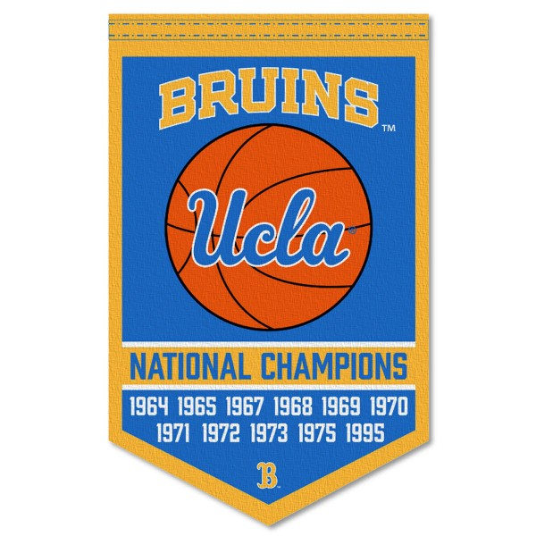 UCLA Bruins Basketball National Champions Banner consists of our sports dynasty year banner which measures 15x24 inches, is constructed of rigid felt, is single sided imprinted, and offers a pennant sleeve for insertion of a pennant stick, if desired. This sports banner is a unique collectible and keepsake of the legacy game and is Officially Licensed and University, School, and College Approved.