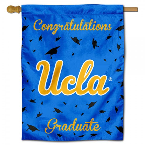 UCLA Bruins Congratulations Graduate Flag measures 30x40 inches, is made of poly, has a top hanging sleeve, and offers dye sublimated UCLA Bruins logos. This Decorative UCLA Bruins Congratulations Graduate House Flag is officially licensed by the NCAA.