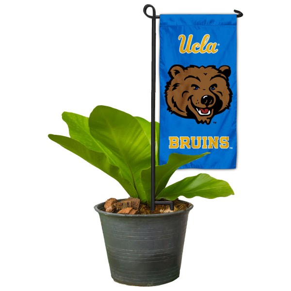 "UCLA Bruins Flower Pot Topper Flag kit includes our 4""x8"" mini garden banner and 6"" x 14"" mini garden banner stand. The mini flag is made of 1-ply polyester, has screen printed logos and the garden stand is made of steel and powder coated black. This kit is NCAA Officially Licensed by the selected college or university."