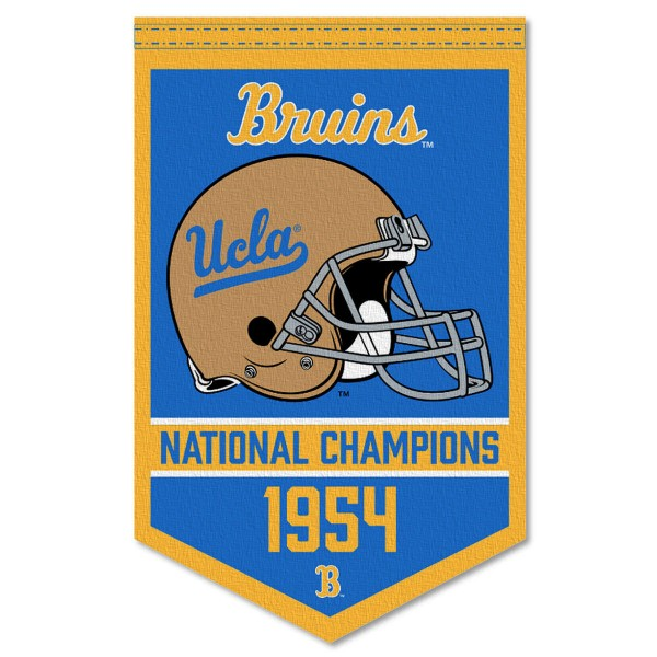 UCLA Bruins Football National Champions Banner consists of our sports dynasty year banner which measures 15x24 inches, is constructed of rigid felt, is single sided imprinted, and offers a pennant sleeve for insertion of a pennant stick, if desired. This sports banner is a unique collectible and keepsake of the legacy game and is Officially Licensed and University, School, and College Approved.