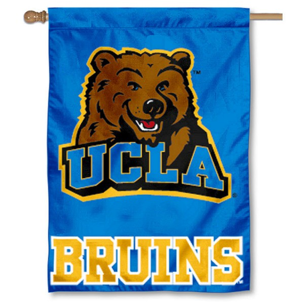 UCLA Bruins House Flag is a vertical house flag which measures 28x40 inches, is made of double sided 100% nylon, offers screen-printed college team insignias, and has a top pole sleeve to hang vertically. Our UCLA Bruins House Flag is officially licensed by the selected university and the NCAA