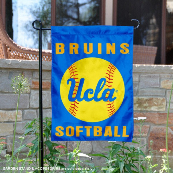 UCLA Bruins Softball Garden Flag and Yard Banner is 13x18 inches in size, is made of 2-layer double sided with liner polyester, screen printed UCLA Bruins athletic logos and lettering. Available with Same Day Express Shipping, Our UCLA Bruins Softball Garden Flag and Yard Banner is officially licensed and approved by UCLA Bruins and the NCAA.