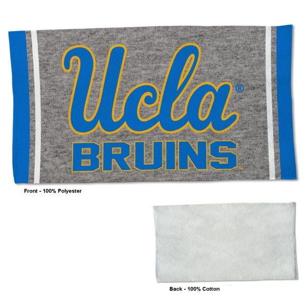 UCLA Bruins Workout Exercise Towel measures 22x42 inches, is made of 100% Polyester on the front and 100% Cotton on the back, has double stitched sewing perimeter, and Graphics and Logos, as shown. Our UCLA Bruins Workout Exercise Towel is officially licensed by the selected university and the NCAA. Also, machine washable and dryer safe.