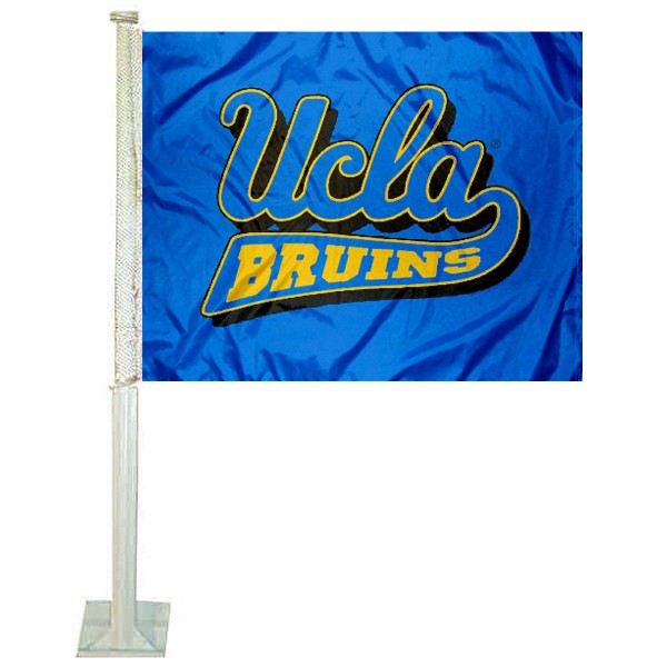 UCLA Car Window Flag measures 12x15 inches, is constructed of sturdy 2 ply polyester, and has screen printed school logos which are readable and viewable correctly on both sides. UCLA Car Window Flag is officially licensed by the NCAA and selected university.