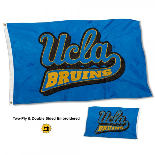 UCLA Flag measures 3'x5' in size, is made of 2 layer embroidered 100% nylon, has quadruple stitched fly ends for durability, and is viewable and readable correctly on both sides. Our UCLA Flag is officially licensed by the university, school, and the NCAA
