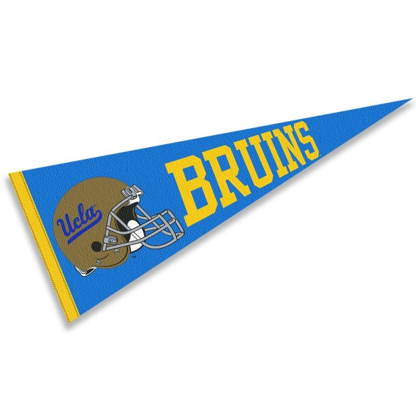 UCLA Helmet Pennant consists of our full size sports pennant which measures 12x30 inches, is constructed of felt, is single sided imprinted, and offers a pennant sleeve for insertion of a pennant stick, if desired. This UCLA Pennant Decorations is Officially Licensed by the selected university and the NCAA.