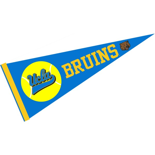 UCLA NCAA Tennis Pennant consists of our full size sports pennant which measures 12x30 inches, is constructed of felt, is single sided imprinted, and offers a pennant sleeve for insertion of a pennant stick, if desired. This UCLA Pennant Decorations is Officially Licensed by the selected university and the NCAA.