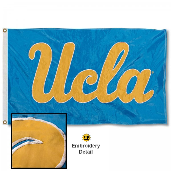 UCLA Nylon Embroidered Flag measures 3'x5', is made of 100% nylon, has quadruple flyends, two metal grommets, and has double sided appliqued and embroidered University logos. These UCLA 3x5 Flags are officially licensed by the selected university and the NCAA.