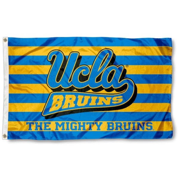 UCLA The Mighty Bruins Flag is made of 100% nylon, offers quad stitched flyends, measures 3x5 feet, has two metal grommets, and is viewable from both side with the opposite side being a reverse image. Our UCLA The Mighty Bruins Flag is officially licensed by the selected college and NCAA