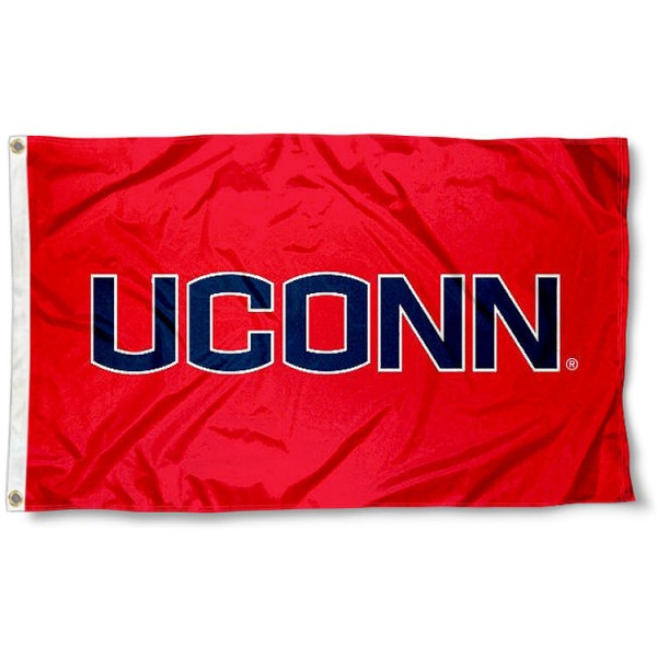 UCONN Athletic Red Logo Flag measures 3'x5', is made of 100% poly, has quadruple stitched sewing, two metal grommets, and has double sided Team University logos. Our UCONN Huskies 3x5 Flag is officially licensed by the selected university and the NCAA.