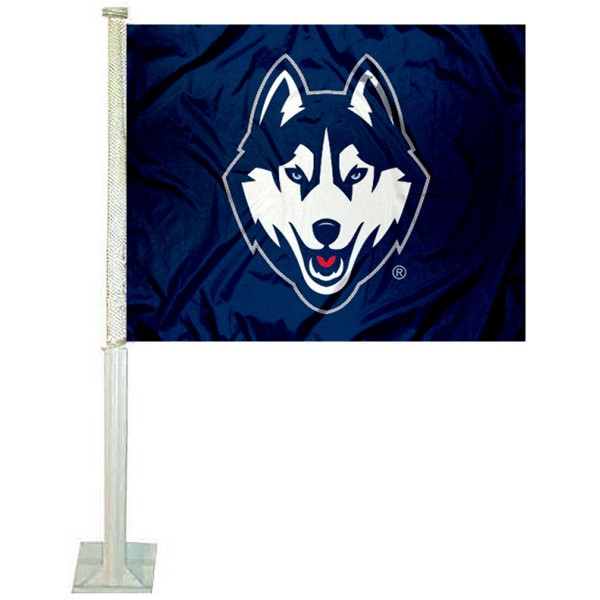 UCONN Car Window Flag measures 12x15 inches, is constructed of sturdy 2 ply polyester, and has screen printed school logos which are readable and viewable correctly on both sides. UCONN Car Window Flag is officially licensed by the NCAA and selected university.